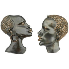 Pair of Hagenauer Style Bronze African Female Heads, Wall Decoration