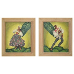Painting of tropical Dancers signed: Heda, 1960s