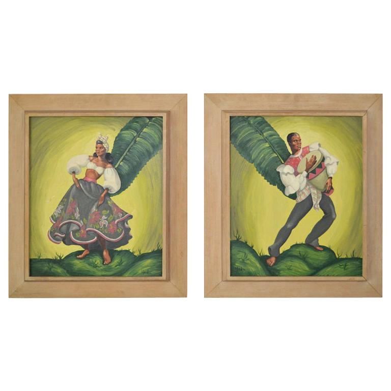 Painting of tropical Dancers signed: Heda, 1960s For Sale