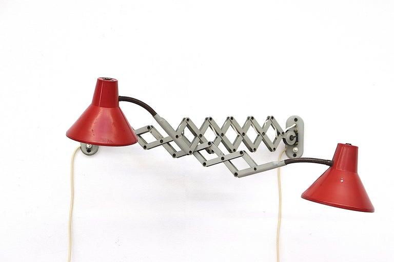 Mid-Century Modern Pair of Hala Zeist Wall Mount Scissor Lamps For Sale