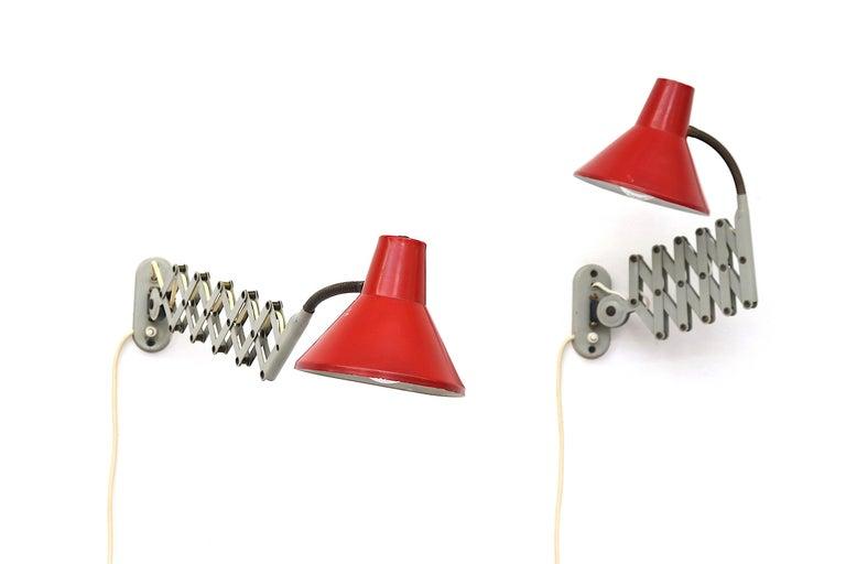 Dutch Pair of Hala Zeist Wall Mount Scissor Lamps For Sale
