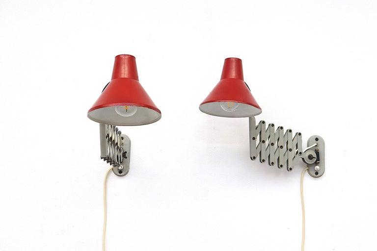 Enameled Pair of Hala Zeist Wall Mount Scissor Lamps For Sale
