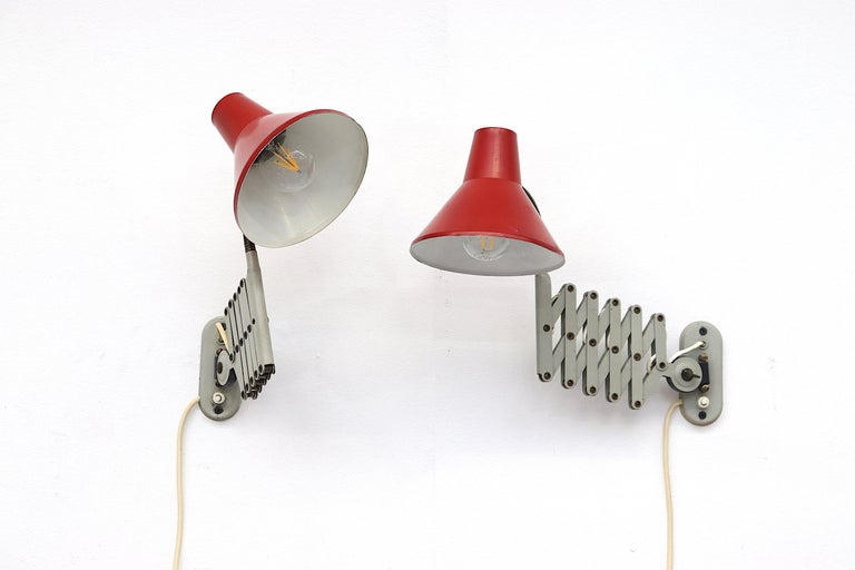 Pair of Hala Zeist Wall Mount Scissor Lamps In Good Condition For Sale In Los Angeles, CA