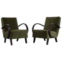 Pair of Halabala Attributed Olive Velvet Lounge Chairs