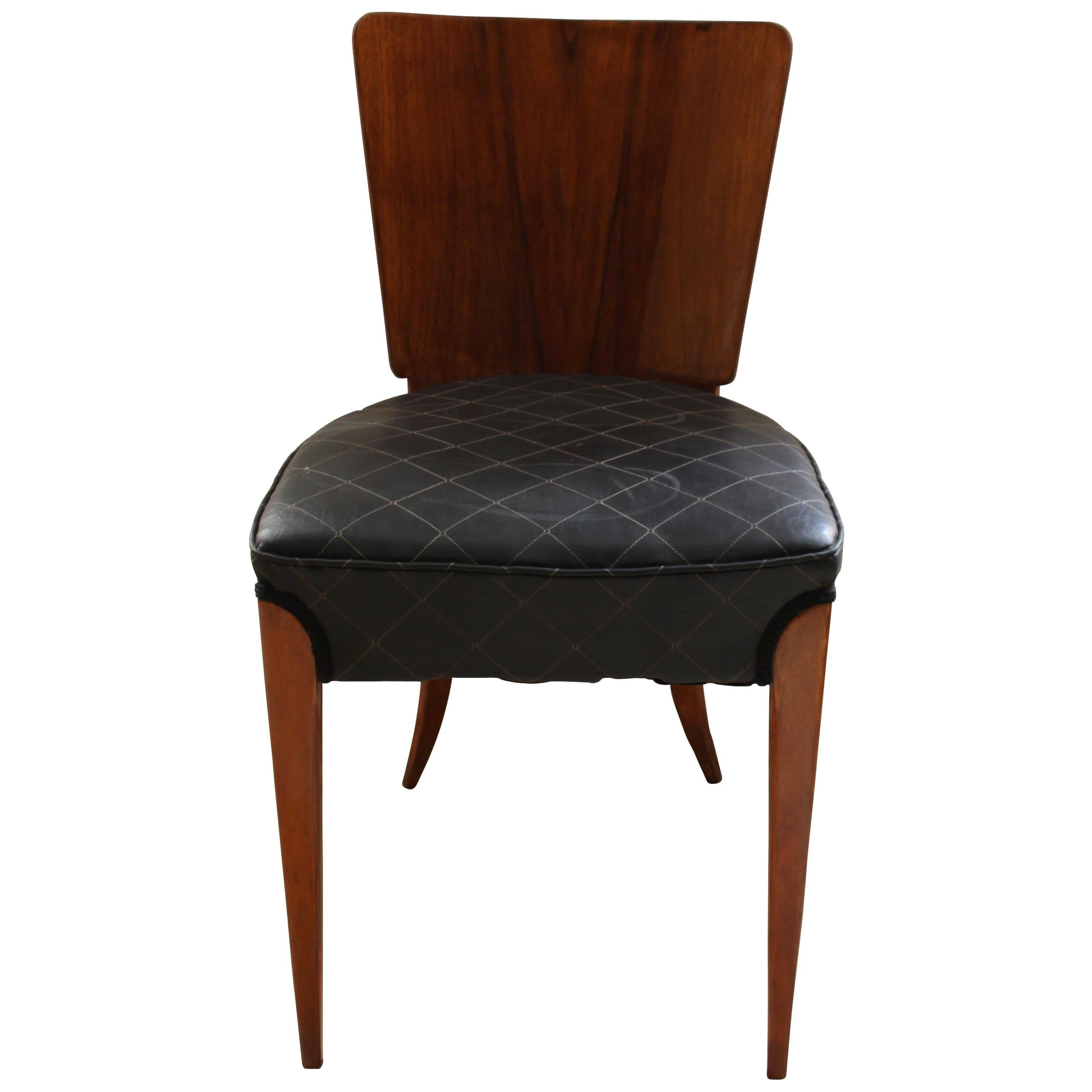 Pair of J. Halabala's H214 Chairs, Walnut Veneer, French Polish, Czech, 1930s