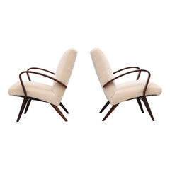 Pair of Halabala Style Cream Upholstered Lounge Chairs