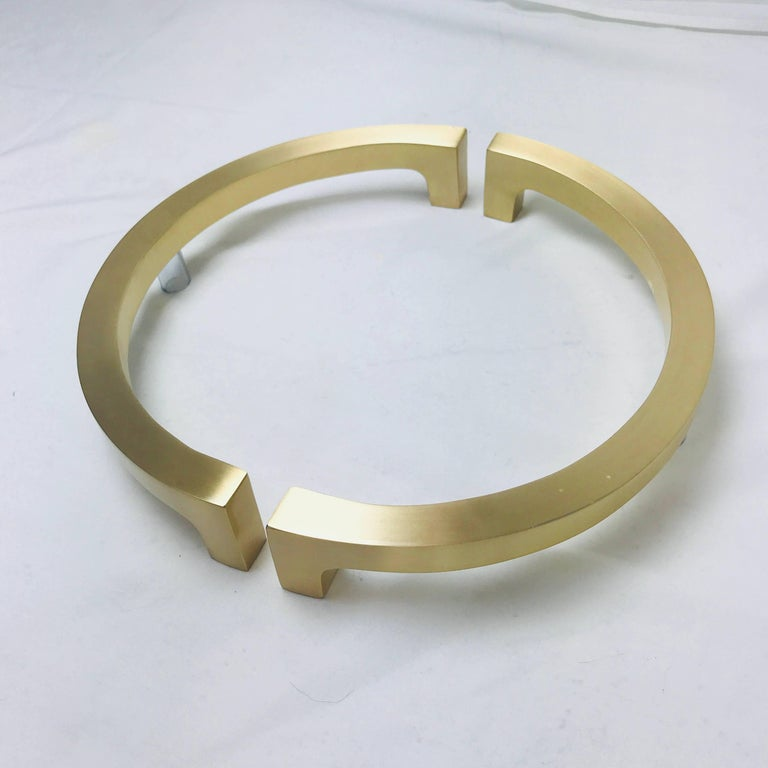 Pair of Half Circular Brass Entry Door Pulls For Sale at 1stdibs