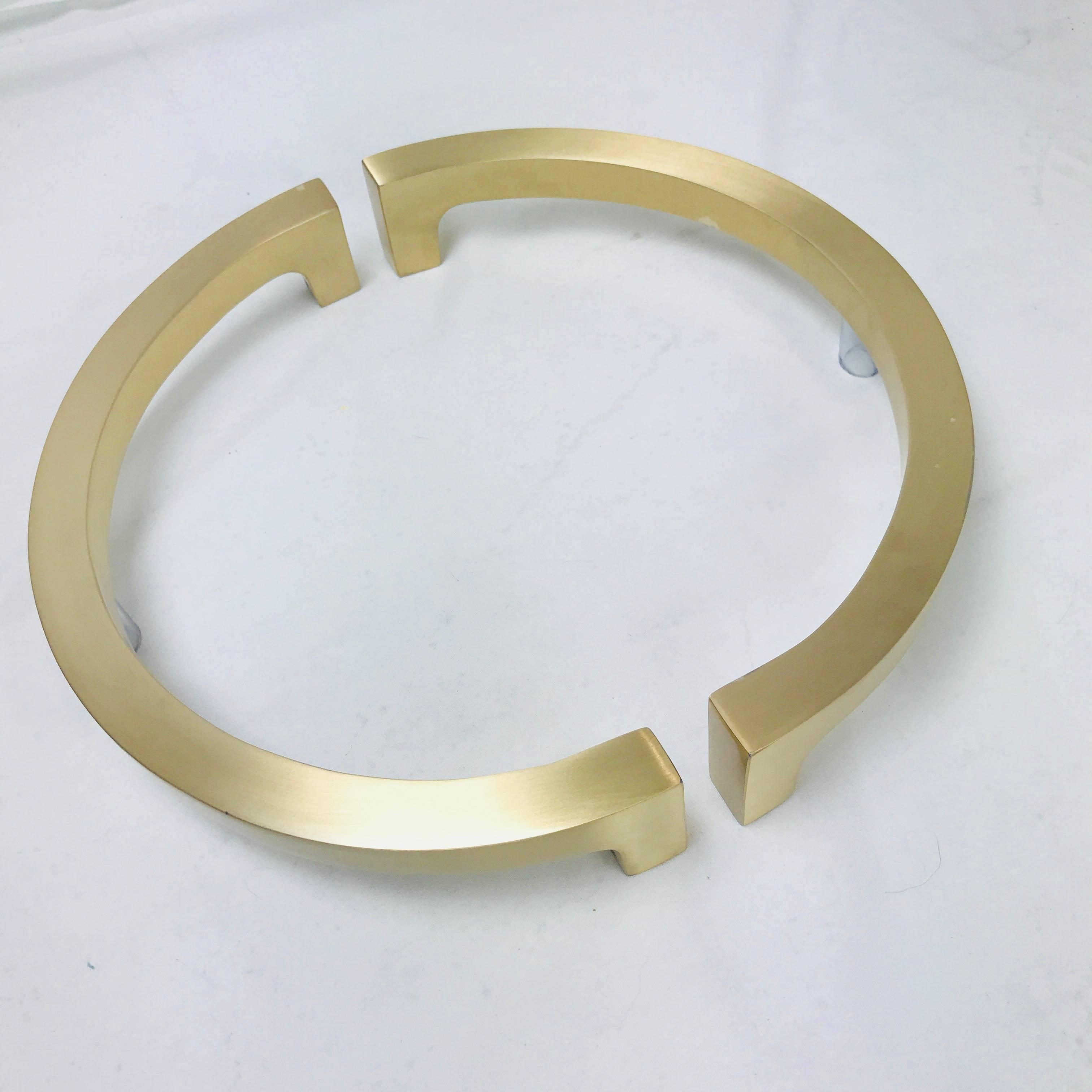 Modern Pair Of Half Circular Brass Entry Door Pulls For Sale