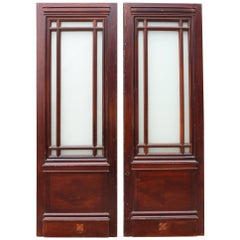 Pair of Half Glazed Mahogany Interior Double Doors