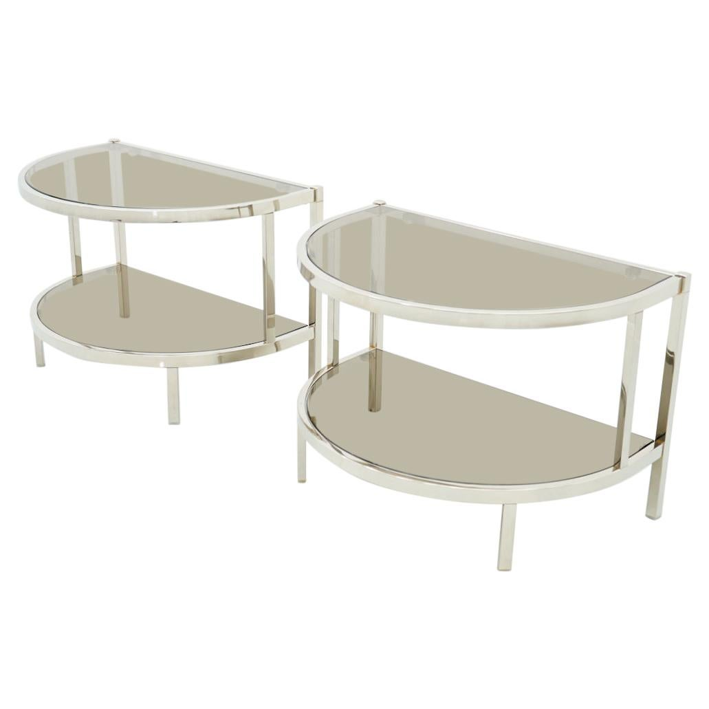 Pair of Half Round Side or Bedside Tables in Chrome, 1970s