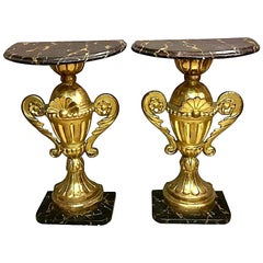 Pair of Half Round Tables Gold Leaf, Late 19th Century