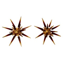 Pair of Half Sputnik Murano Glass Wall Sconces with Brass Structure, 1970s
