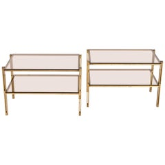 Pair of Hammered Brass Side Tables Attributed to Osvaldo Borsani, circa 1958