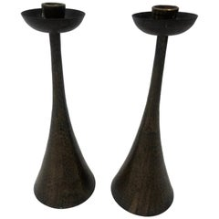 Pair of Hammered Copper Arts & Crafts Candlesticks