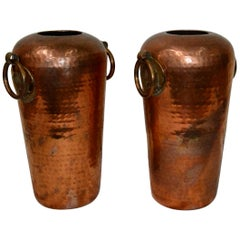 Pair of Hammered Copper Vases with Egyptian Details