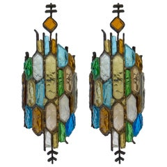 Pair of Hammered Glass and Gilt Iron Sconces by Longobard, Italy, 1970s