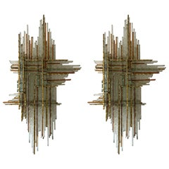 Pair of Hammered Glass and Gilt Metal by Biancardi & Jordan, Italy, 1970s