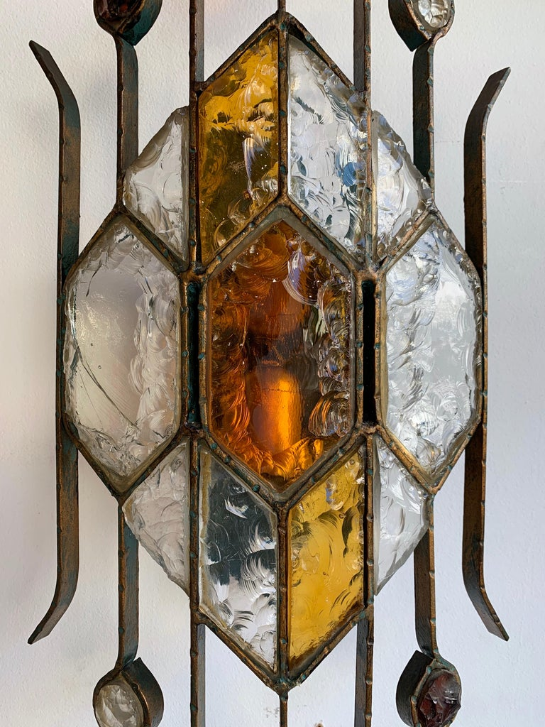 Brutalist Pair of Hammered Glass Sconces by Longobard, Italy, 1970s For Sale
