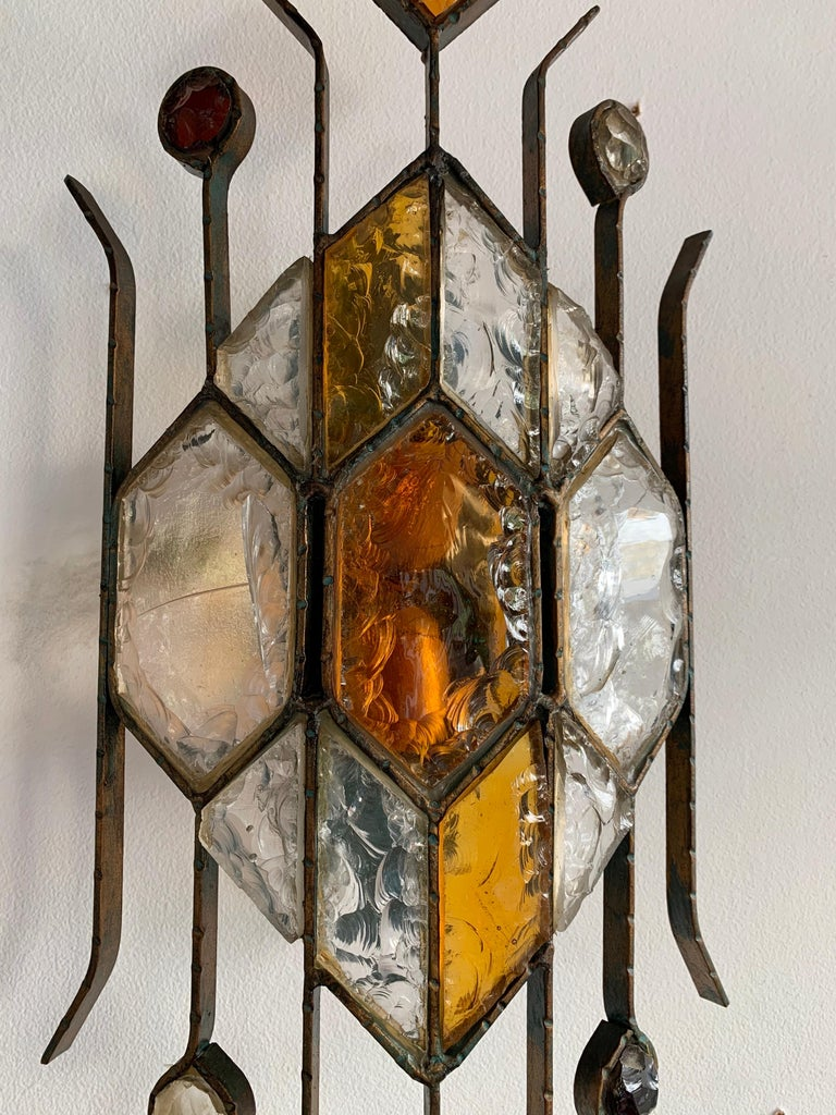 Late 20th Century Pair of Hammered Glass Sconces by Longobard, Italy, 1970s For Sale