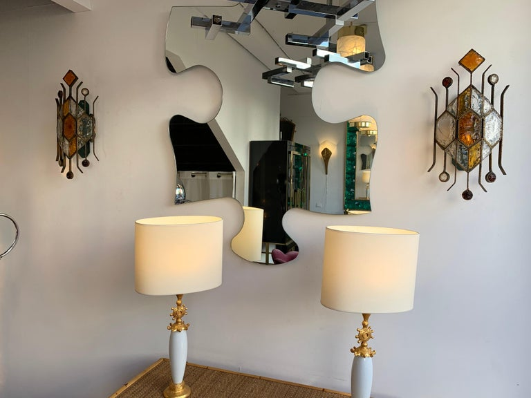 Pair of Hammered Glass Sconces by Longobard, Italy, 1970s For Sale 1