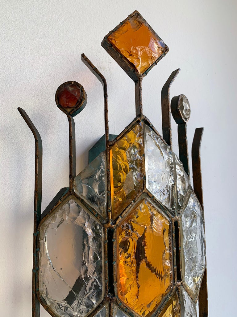 Pair of Hammered Glass Sconces by Longobard, Italy, 1970s For Sale 2