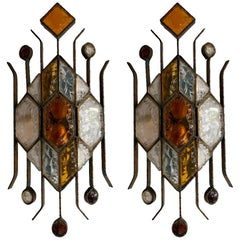 Pair of Hammered Glass Sconces by Longobard, Italy, 1970s