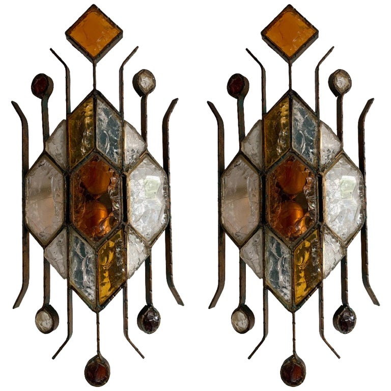 Pair of Hammered Glass Sconces by Longobard, Italy, 1970s For Sale