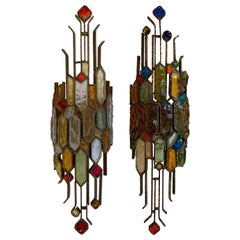 Pair of Hammered Glass Wrought Iron by Longobard, Italy, 1970s