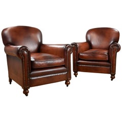 Pair of Han Dyed Honey Brown Leather Armchairs