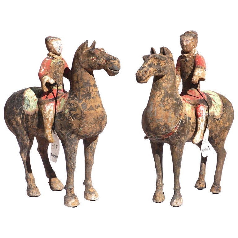 Pair of Han Dynasty Pottery Horse and Equestrian Riders For Sale