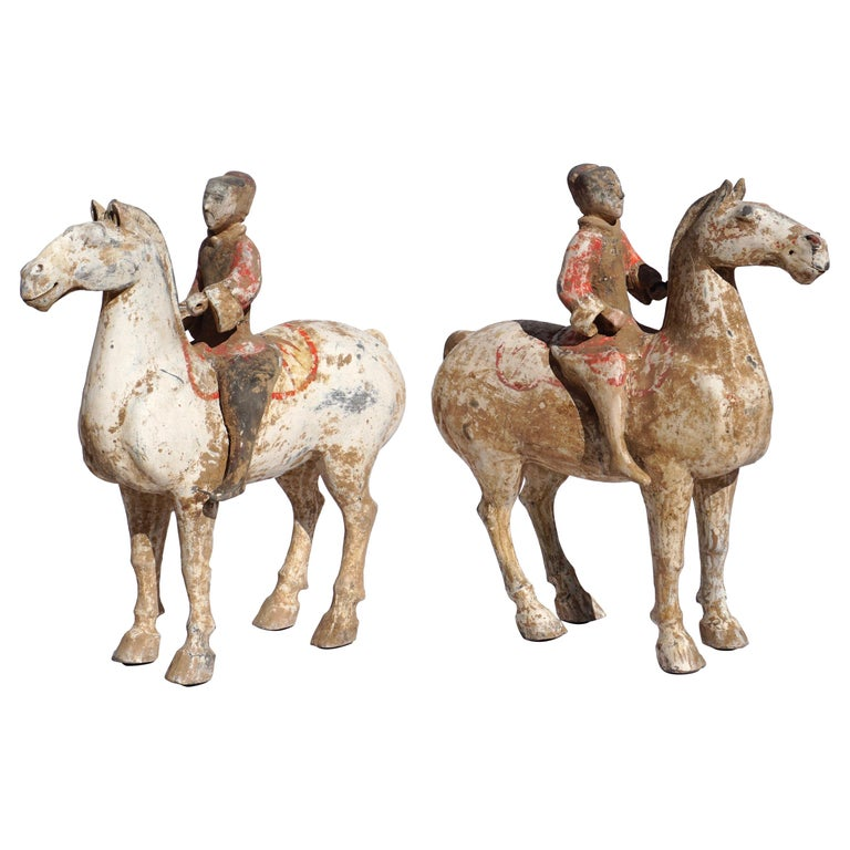 Pair of Han Dynasty pottery Horses and Equestrian Riders For Sale