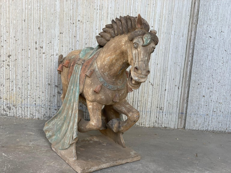 20th Century Pair of Han Dynasty Terracotta Horses, China, '206 BC-220 AD' For Sale