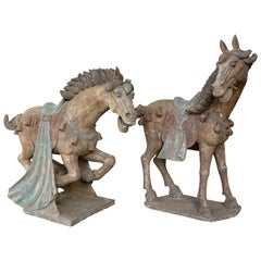 Pair of Han Dynasty Terracotta Horses, China, '206 BC-220 AD'