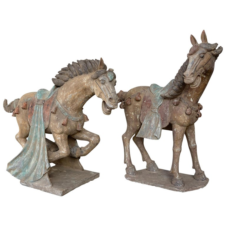 Pair of Han Dynasty Terracotta Horses, China, '206 BC-220 AD' For Sale