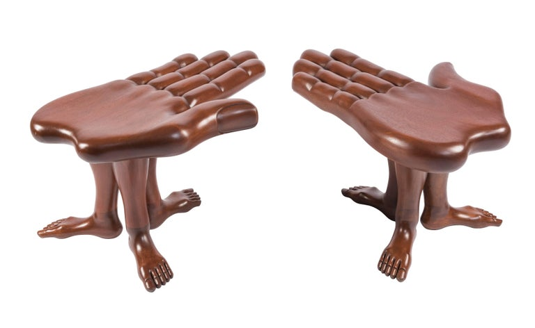 Mexican Pair of Hand and Foot Coffee Tables or Stools by Pedro Friedeberg For Sale