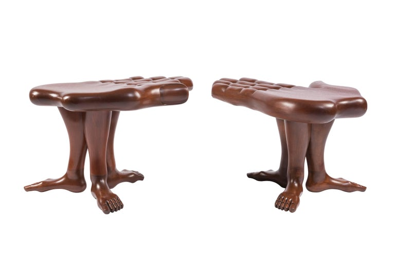 Pair of Hand and Foot Coffee Tables or Stools by Pedro Friedeberg In Good Condition For Sale In Pawtucket, RI