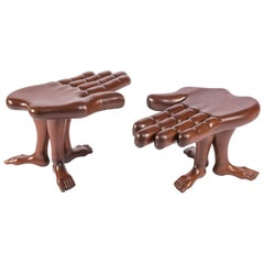 Pair of Hand and Foot Coffee Tables or Stools by Pedro Friedeberg