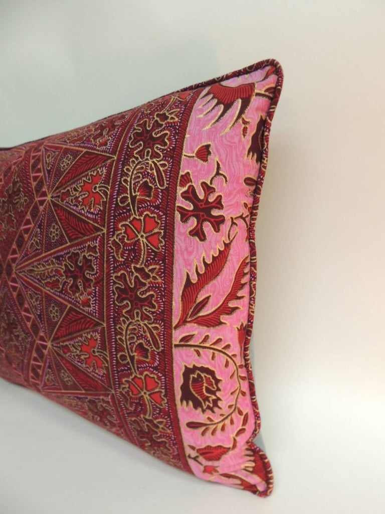 Bohemian Pair of Hand-blocked Red and Pink Batik Bolster Decorative Pillows For Sale
