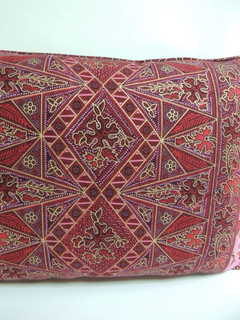 Indonesian Pair of Hand-blocked Red and Pink Batik Bolster Decorative Pillows For Sale