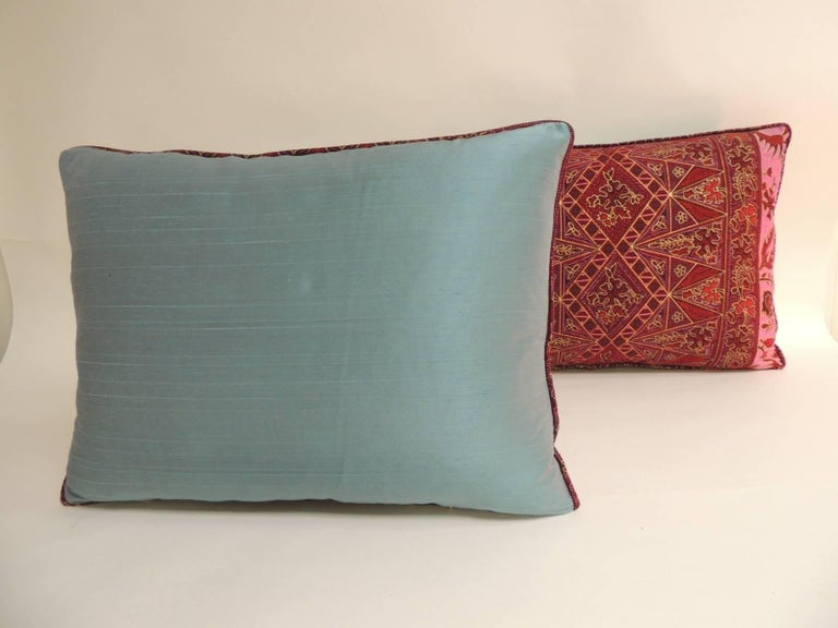 Hand-Crafted Pair of Hand-blocked Red and Pink Batik Bolster Decorative Pillows For Sale