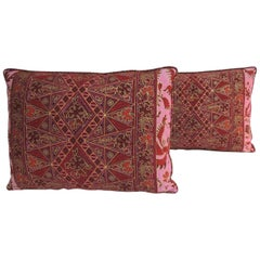 Pair of Hand-blocked Silk Red and Pink Batik Lumbar Throw Pillows