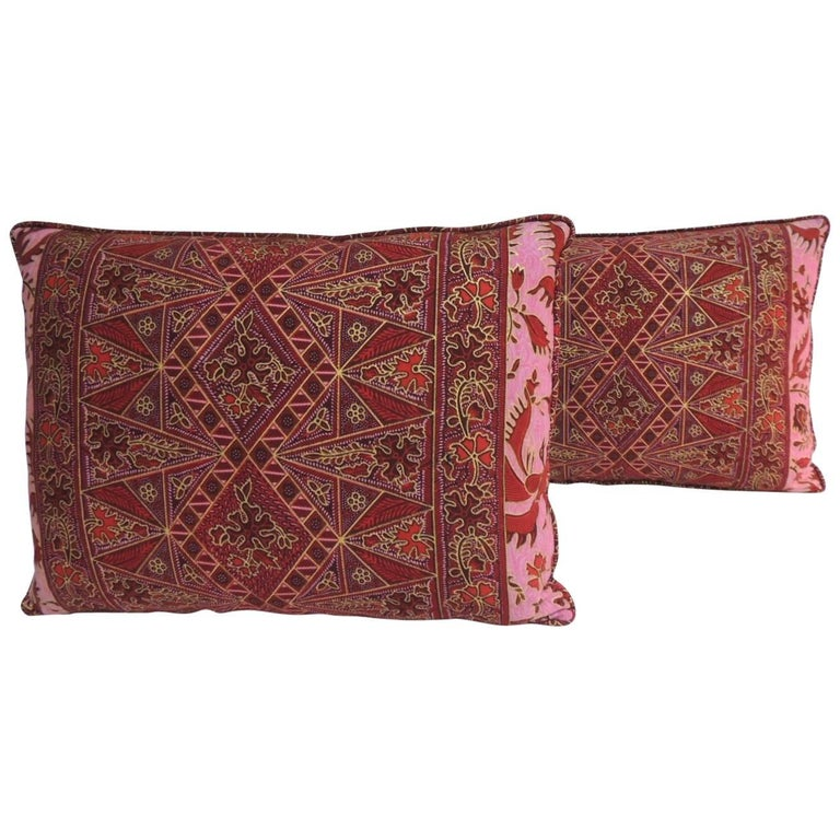 Pair of Hand-blocked Red and Pink Batik Bolster Decorative Pillows For Sale