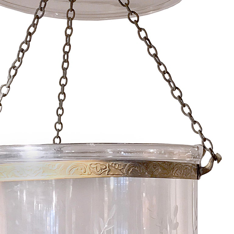 High Victorian Pair of Hand Blown Glass Bell Jar Lanterns with Grape Etching For Sale