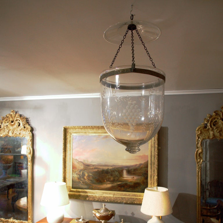 Etched Pair of Hand Blown Glass Bell Jar Lanterns with Grape Etching For Sale