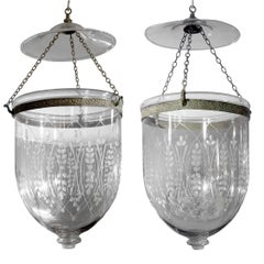 Pair of Handblown Glass Bell Jar Lanterns with Wheat Etching
