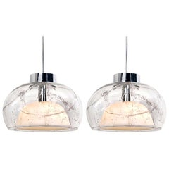 Pair of Hand Blown Glass Pedant Lights by Doria, Germany, 1970s