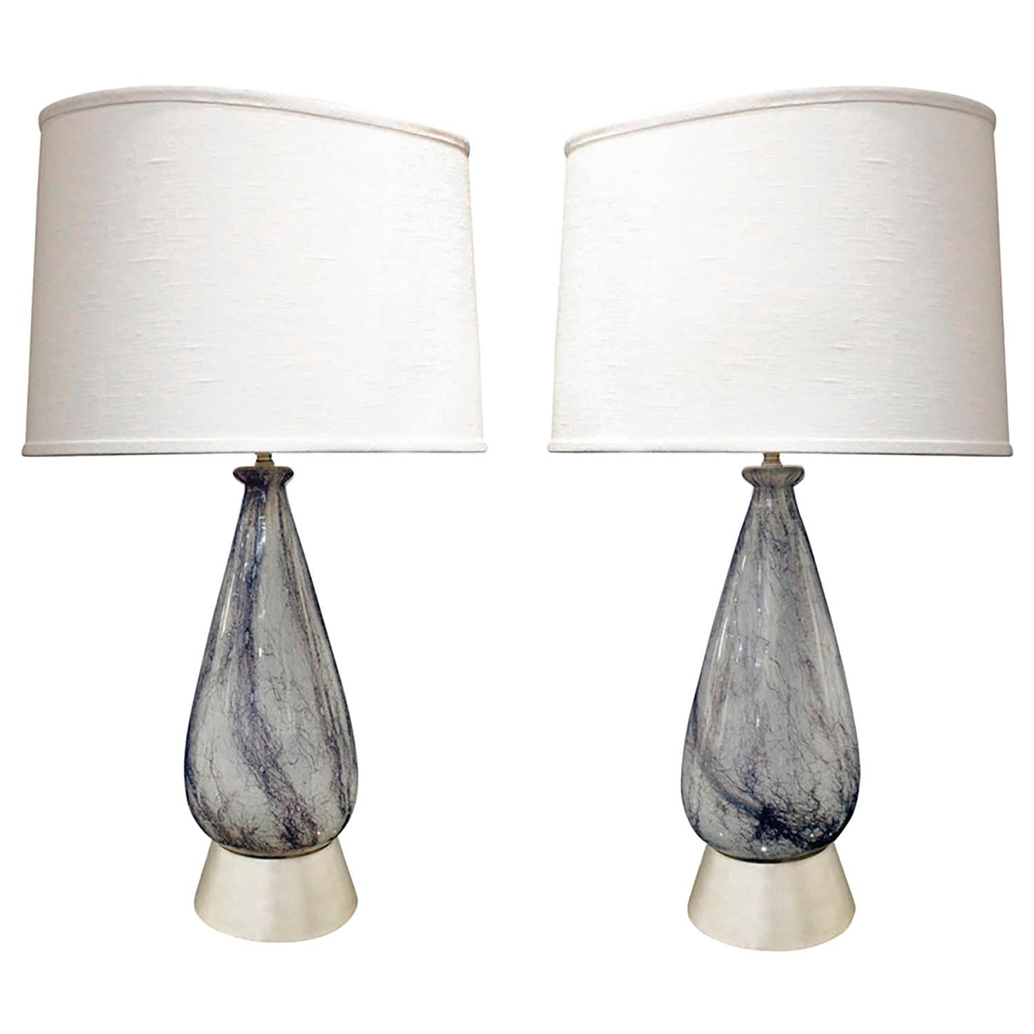 Pair of Hand Blown Glass Table Lamps Attributed to Ercole Barovier, 1930s