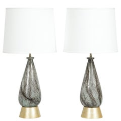 Pair of Hand-Blown Glass Table Lamps Attributed to Ercole Barovier, 1930s