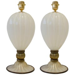 Pair of Hand Blown Ivory and Bronze/Gold Murano Glass Lamps, Italy, Signed