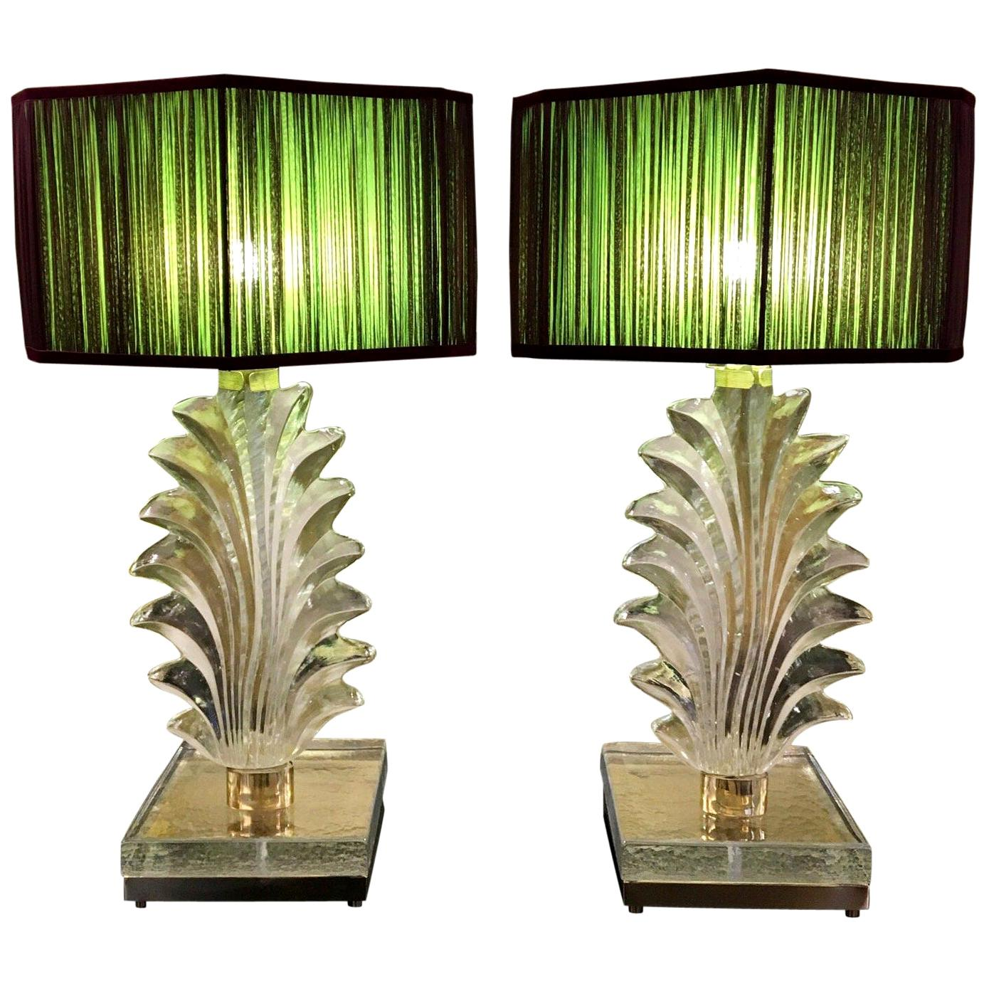 Pair of Hand Blown Murano Clear Glass Leaf Table Lamps, 1940s